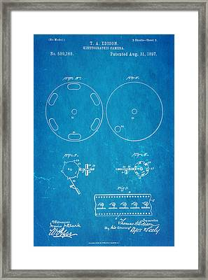 Edison Motion Picture Camera Patent Art 3 1897 Blueprint Framed Print by Ian Monk