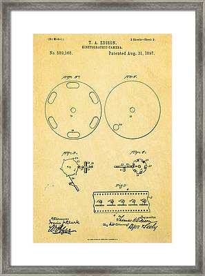 Edison Motion Picture Camera Patent Art 3 1897 Framed Print by Ian Monk