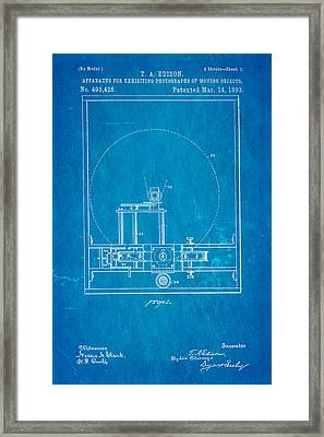 Edison Motion Picture Patent Art 1893 Blueprint Framed Print by Ian Monk