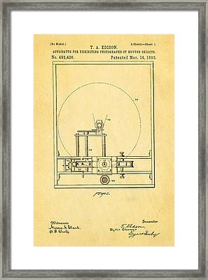 Edison Motion Picture Patent Art 1893 Framed Print by Ian Monk