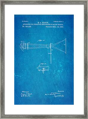 Edison Motion Picture Patent Art 2 1893 Blueprint Framed Print by Ian Monk