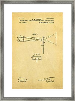 Edison Motion Picture Patent Art 2 1893 Framed Print by Ian Monk