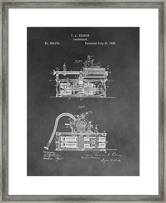Edison Phonograph Patent Framed Print by Dan Sproul
