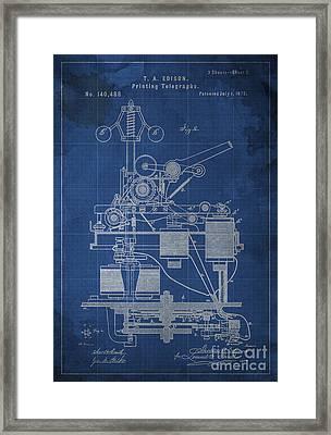 Edison Printing Telegraphs Patent Blueprint 2 Framed Print
