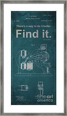 Edison Quote Electrical Printing Instrument Patent Framed Print by Pablo Franchi