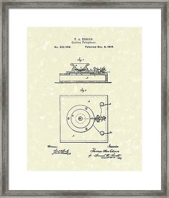 Edison Telephone 1879 Patent Art Framed Print by Prior Art Design
