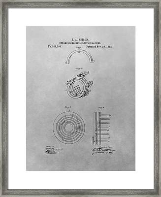 Edison's Electric Generator Patent Drawing Framed Print