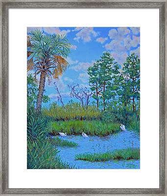 Framed Print featuring the painting Edisto Egret Hideaway by Dwain Ray