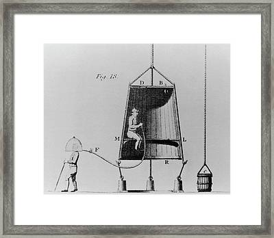 Edmond Halley's Diving Bell Of 1716 Framed Print by Science Photo Library