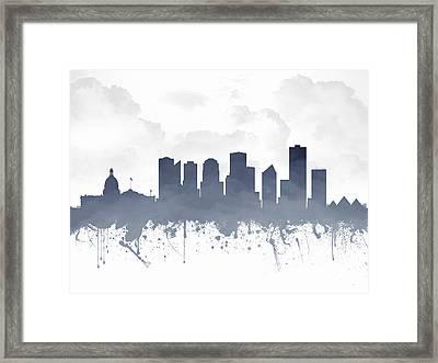Edmonton Alberta Skyline - Blue 03 Framed Print by Aged Pixel
