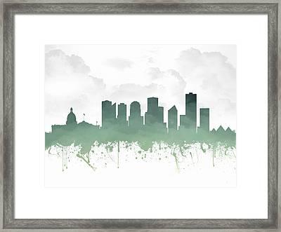 Edmonton Alberta Skyline - Teal 03 Framed Print by Aged Pixel