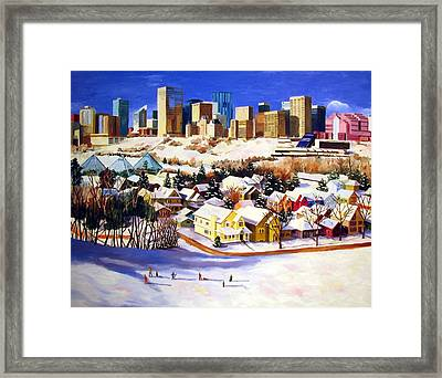 Edmonton In Winter Framed Print by Nel Kwiatkowska