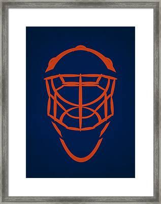 Edmonton Oilers Goalie Mask Framed Print by Joe Hamilton