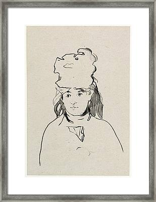 Edouard Manet, Berthe Morisot, French, 1832 - 1883 Framed Print by Quint Lox
