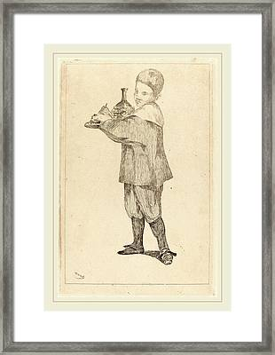 Edouard Manet French, 1832-1883, Child Holding A Tray Framed Print