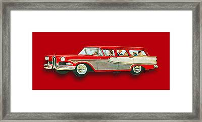 Edsel Car Advertisement Wagon Red Framed Print by Tony Rubino