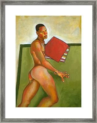 Eduardo On Green Blanket Framed Print by Douglas Simonson