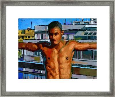 Eduardo On The 12th Floor Framed Print by Douglas Simonson