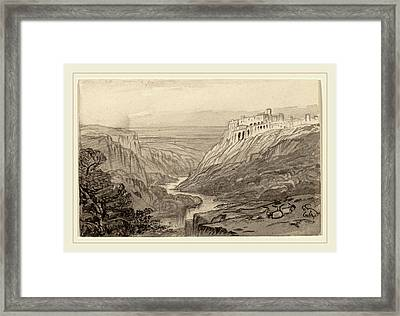 Edward Lear, Goats Resting Above A River Gorge Narni Framed Print by Litz Collection