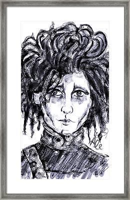 Edward Scissorhands Phone Sketch Framed Print by Alessandro Della Pietra