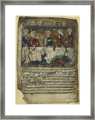 Edward The Confessor At Table Framed Print