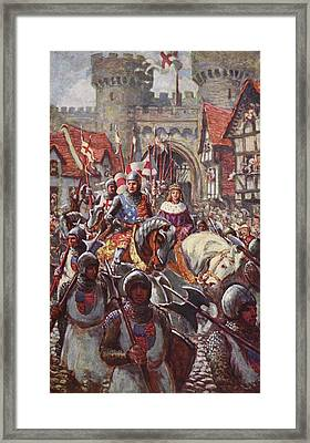 Edward V Rides Into London With Duke Framed Print by Charles John de Lacy