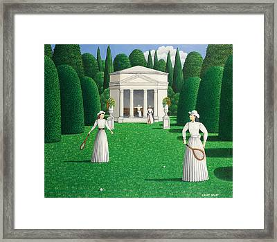Edwardian Ladies Playing Tennis, 1978 Acrylic On Linen Framed Print by Larry Smart