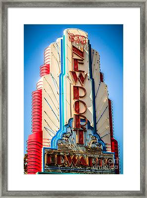 Edwards Big Newport Theatre Sign In Newport Beach Framed Print by Paul Velgos