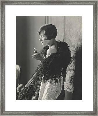 Edythe Baker Wearing A Black Shawl Framed Print