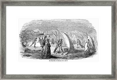Eel Spearing, 1852 Framed Print by Granger