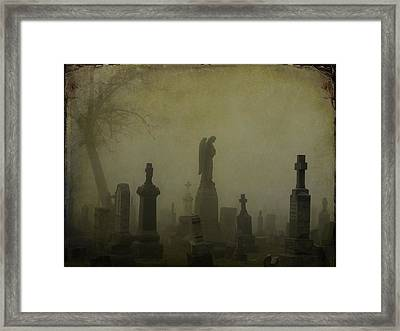 Eerie Darkness In The Fog Framed Print by Gothicrow Images