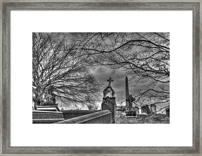 Eerie Graveyard Framed Print by Jennifer Ancker