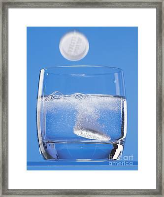 Effervescent Tablets In Water Framed Print by Martyn F. Chillmaid