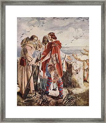 Egfrith Offering The Bishopric Framed Print by William Bell Scott