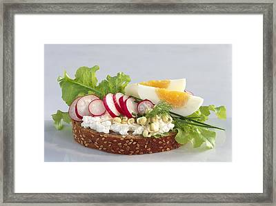 Egg And Cottage Cheese Salad On Bread Framed Print by Science Photo Library