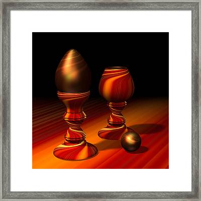 Egg And Swirly Red 2d Framed Print by Hakon Soreide