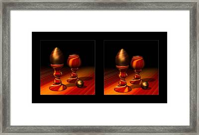 Egg And Swirly Red 3d Framed Print by Hakon Soreide