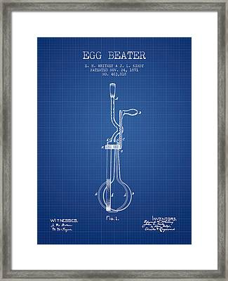 Egg Beater Patent From 1891 - Blueprint Framed Print