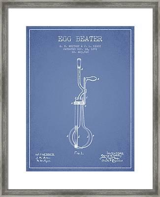 Egg Beater Patent From 1891 - Light Blue Framed Print