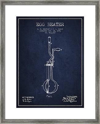 Egg Beater Patent From 1891 - Navy Blue Framed Print