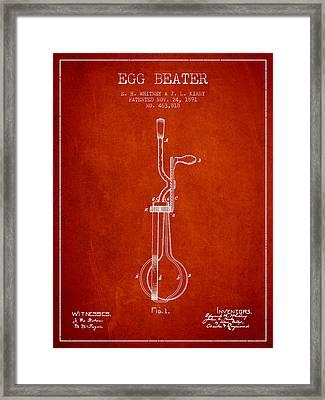 Egg Beater Patent From 1891 - Red Framed Print