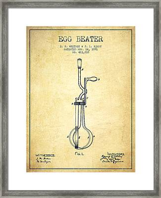 Egg Beater Patent From 1891 - Vintage Framed Print
