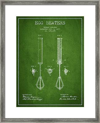 Egg Beaters Patent From 1877 - Green Framed Print