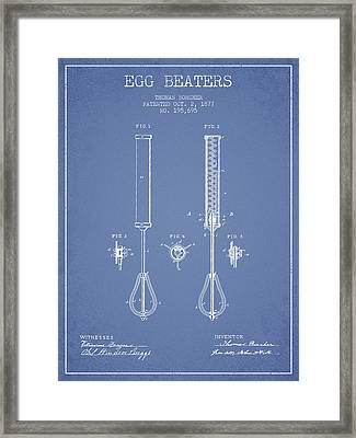 Egg Beaters Patent From 1877 - Light Blue Framed Print