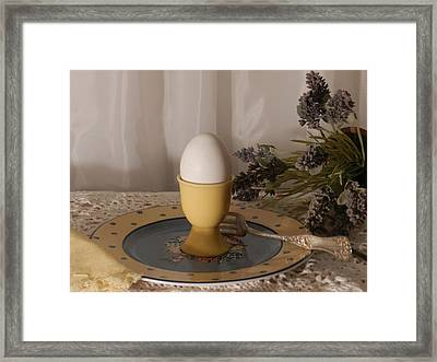 Egg Cup And Lavender Framed Print