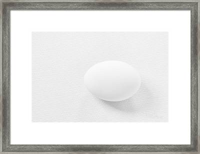 Framed Print featuring the photograph Egg On White Tablecloth by Ludwig Keck