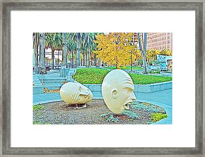 Eggheads In Park Near Embarcadero Towers In San Francisco-california  Framed Print by Ruth Hager