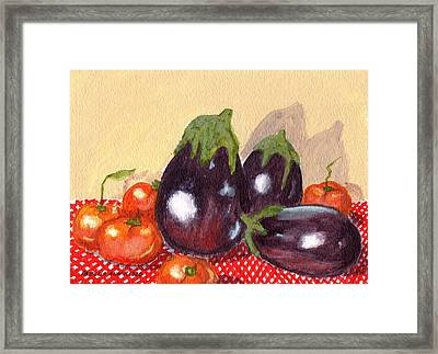 Eggplant And Tomatoes Framed Print