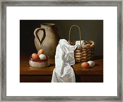 Eggs And Basket Framed Print by Carlos Reales
