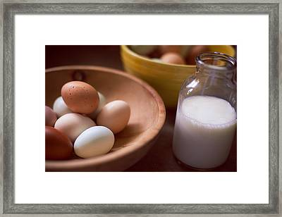 Eggs Bowls And Milk Framed Print by Toni Hopper